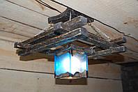 Деревянная люстра Кувшинка, с плафоном из эпоксидной смолы. Ручная работа.