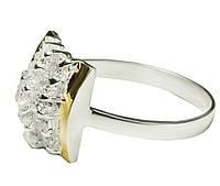 Серебряное кольцо с золотыми пластинами Шахматка арт. 132