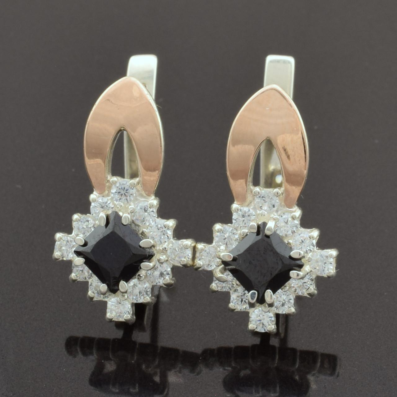 Серебряные серьги с золотыми пластинами 212-c, размер 20*12 мм, вставка чёрные фианиты, вес 4.51 г