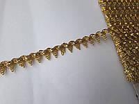 Тесьма декоративная Тасьма декоративна люрекс золото з зубчиками 12 мм