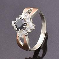 Серебряное кольцо с золотой пластиной, размер 18, черный камень, серебро 2.75 г, золото 0.12 г