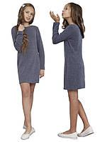 Платье  для девочки с рукавом   М -1113 рост 128-170 трикотажное разных цветов серое, фото 1