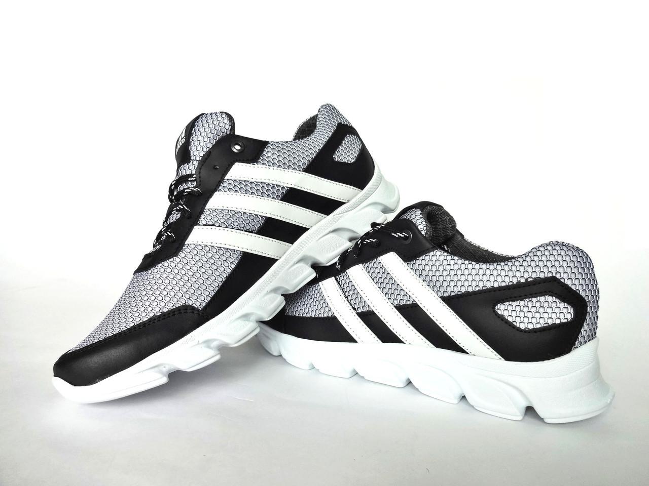 Мужские кроссовки черные с серым Adidas. Натуральная кожа, сетка