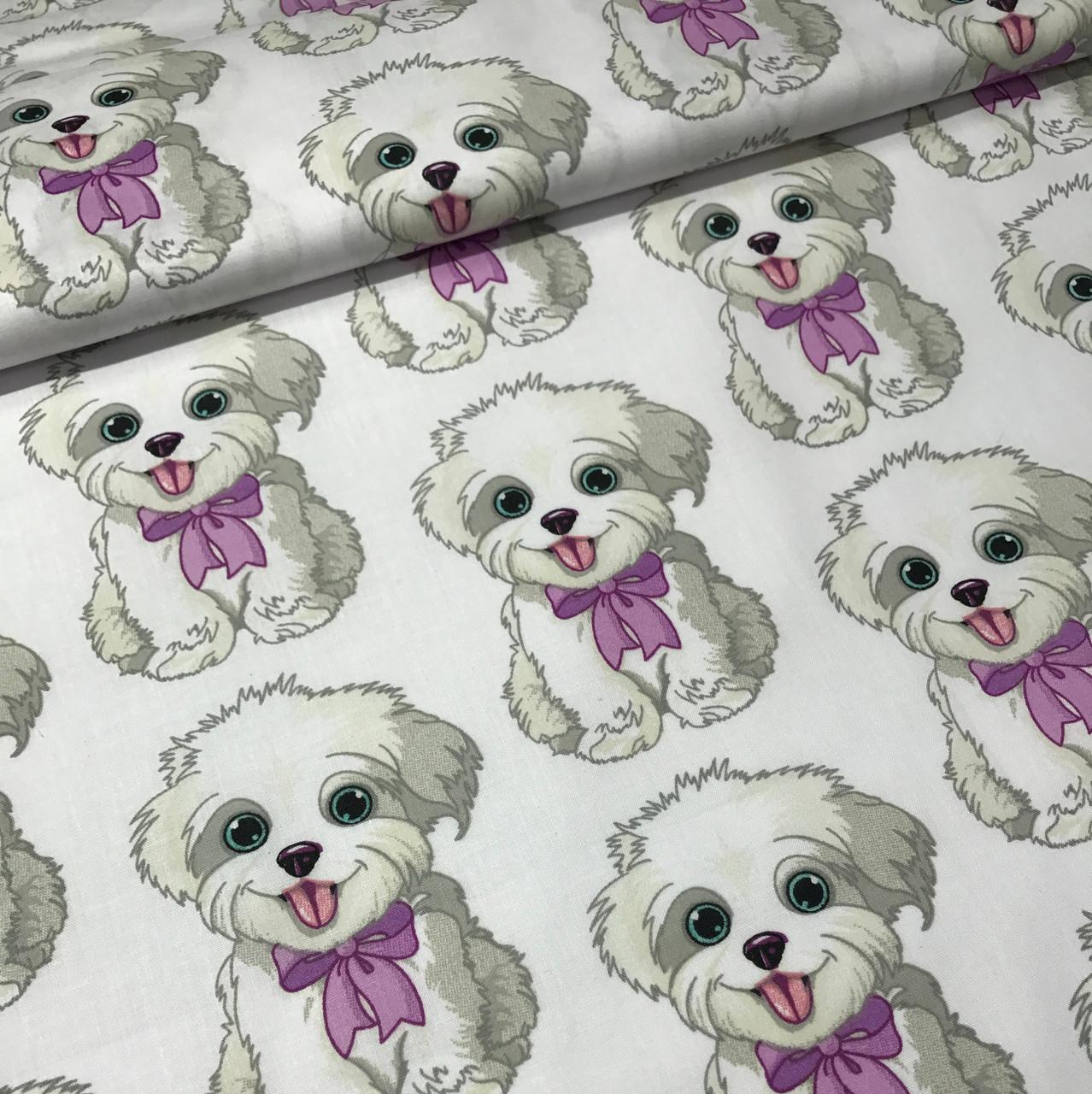 Хлопковая ткань польская собачки с сиреневыми бантиками №176
