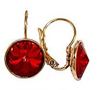 Сережки фірми ХР, позолота.Камені: Swarovski.Колір: червоний. Діаметр сережки: 12 мм. Висота: 2,2 див. CN130