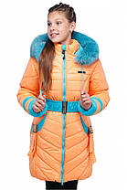 Красивая зимняя куртка-пальто на девочку с натуральным мехом, фото 3