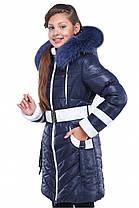 Красивая зимняя куртка-пальто на девочку с натуральным мехом, фото 2