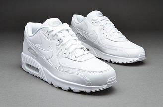 Кроссовки женские Nike Air Max 90 Leather All White оригинал | Найк Аир Макс 90 Лезер женские кожаные белые