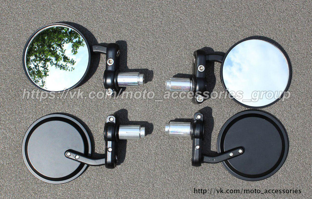 Мото зеркала в торец руля (круглые)