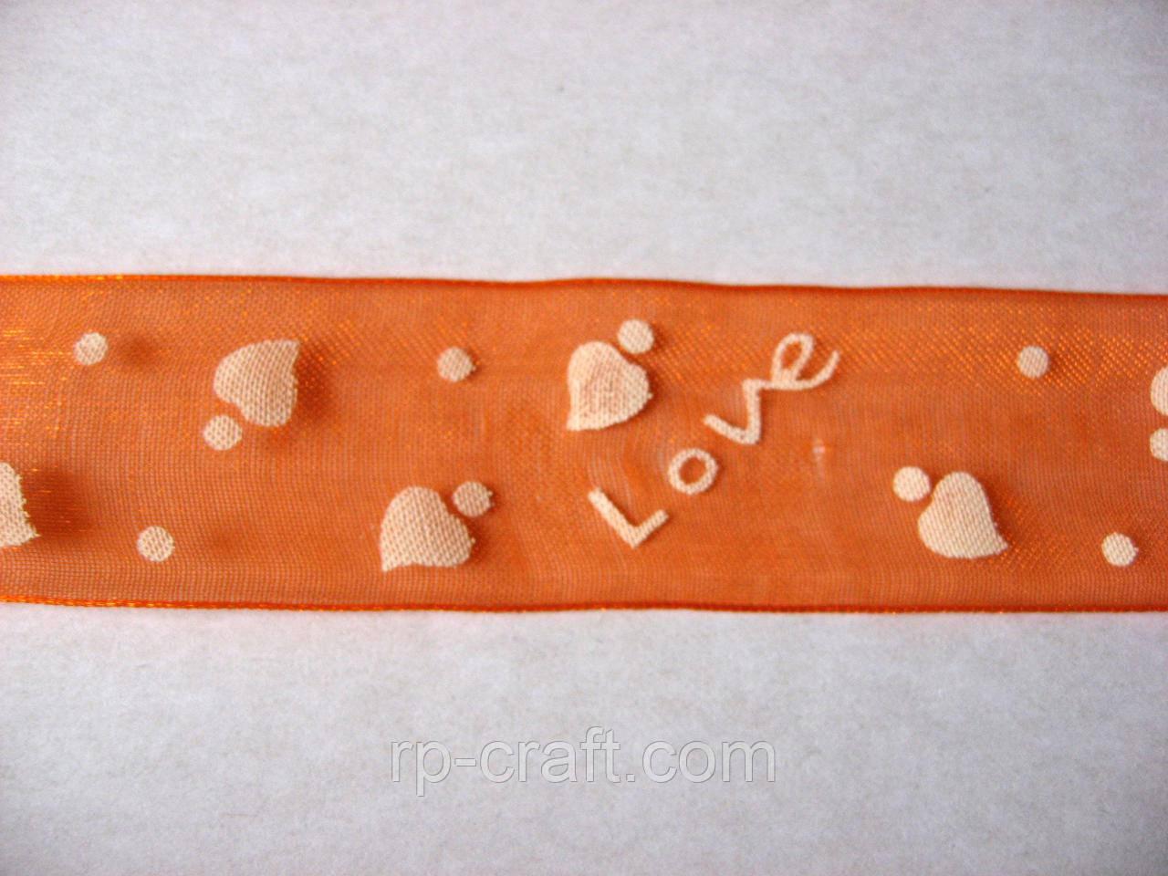 Лента органза, с сердечками, 25 мм