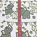 Хлопковая ткань польская слоники с треугольными флажками серо-желтые №171, фото 2