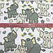 Хлопковая ткань польская слоники с треугольными флажками серо-желтые №171, фото 3