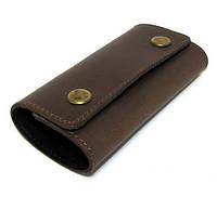 Кожаная ключница коричневая брелок чехол для ключей 11,5см натуральная кожа
