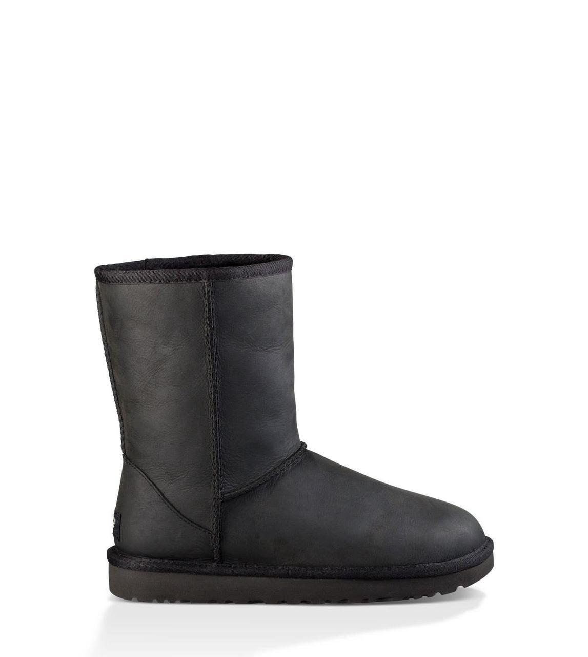 Оригинальные угги кожаные мужские UGG Classic Short Metallic Black-черные, Австралия