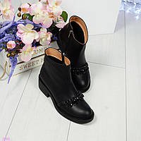 Ботинки женские кожаные декорированные камнями черные, фото 1