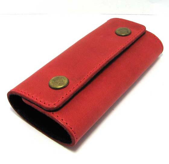 Кожаная ключница красная брелок чехол для ключей 11,5см натуральная кожа