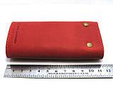 Кожаная ключница красная брелок чехол для ключей 11,5см натуральная кожа, фото 2