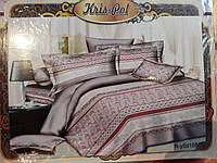 Комплект постельного белья евроразмер Цветы и Полоска, ранфорс