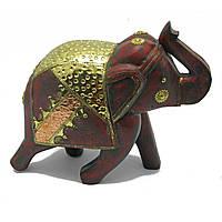 Статуэтка Слон из дерева с медными вставками