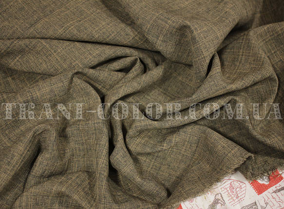 Костюмная ткань габардин лён темно-бежевый, фото 2