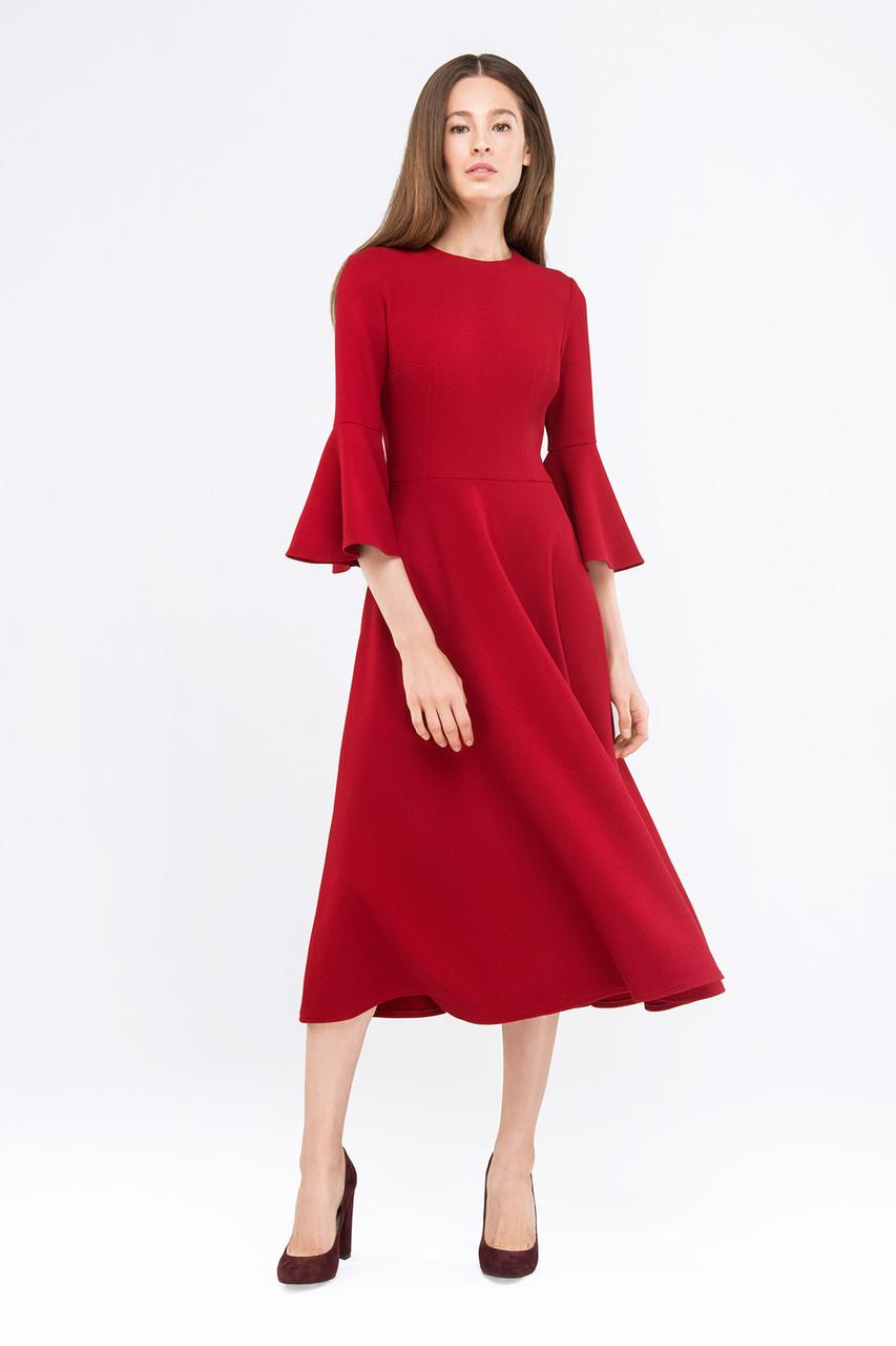 694041d7332 Платье красного цвета с воланами на рукавах - Интернет-магазин одежды и  обуви от производителя