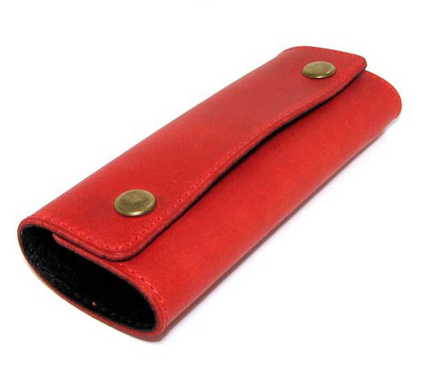 Кожаная ключница красная брелок чехол для ключей 14,5см натуральная кожа