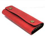 Кожаная ключница красная брелок чехол для ключей 14,5см натуральная кожа, фото 3
