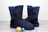 Женские угги короткие с пуговицей UGG Bailey Button Navy Blue | Угги женские короткие темно синие