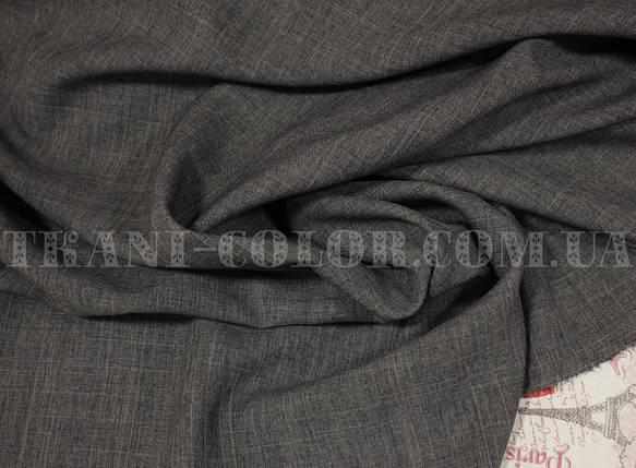 Костюмная ткань габардин лён темно-серый, фото 2