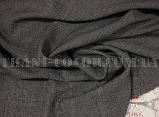 Костюмна тканина габардин льон темно-сірий