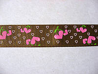 Лента репсовая с сердечками, 16 мм