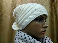 Модная женская шапка Адель( Adel) TM Loman, шапка на флисе, белый цвет, размер 56-58