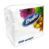 """Салфетки бумажные однослойные 330х330мм """"Диво"""" белые 100шт."""