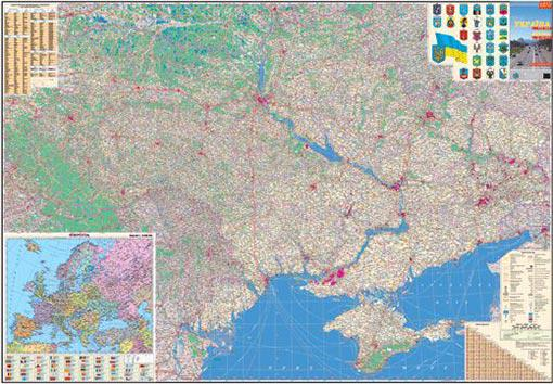Карта Украины. Автокарта/Европа 160*110см Ламинация/Планки М1:850 000