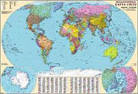 Карта Политическая карта мира 160*110см Ламинация/Планки М1:22000000