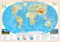 Карта Физическая карта мира 65*45см А2 картон М1:55000000