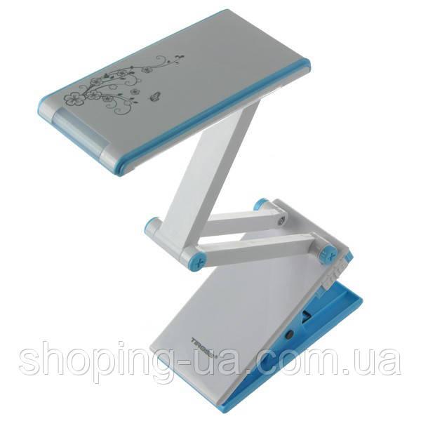 Настольная аккумуляторная лампа-трансформер Прищепка голубая Tiross TS1821