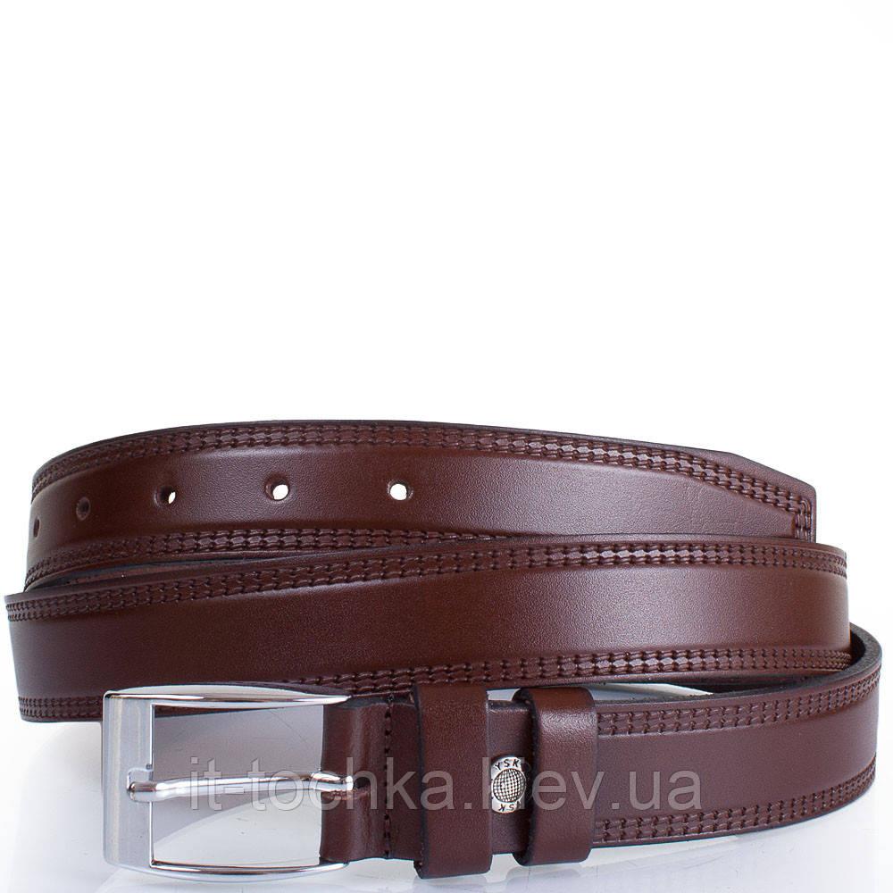 Мужской кожаный ремень с тиснением y.s.k. shi1800-2 коричневый