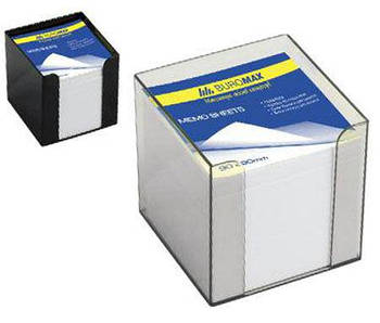 Бумага кубарик для записей, белая 1000л. в пластиковом прозрачном футляре Buromax 9*9*9см 2290-03