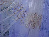 Современная гардина на фатине бежевого цвета для гостинной