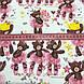 Хлопковая ткань польская мишки в сиреневых юбочках и в желтых коронах на молочном №158, фото 3