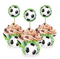 """Топперы для капкейков, десертов и кексов """"Футбол"""", 6 шт./уп."""