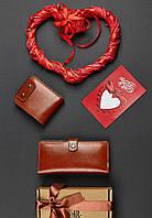 Подарочный набор натуральная кожа (два кошелька, открытка) ручная работа