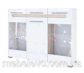 Комод Бьянко витрина 3Д 1140х1500х400мм белый глянец + дуб сонома   Світ Меблів