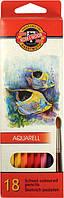Карандаши акварельные цветные «Рыбки» 18цв. (2.8 мм) KOH-I-NOOR Mondeluz 3717_р