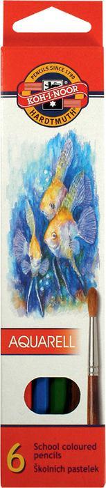 Карандаши акварельные цветные «Рыбки» 6 цв. (2.8мм) KOH-I-NOOR Mondeluz 3715_р