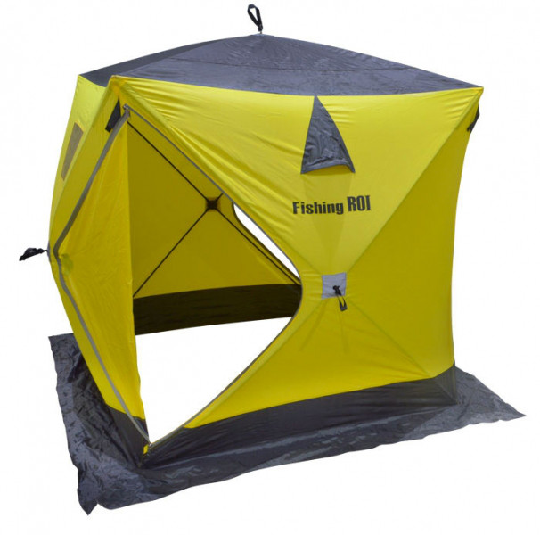 "Палатка зимняя Куб ""Fishing ROI"" (180*180*205см.) yellow-grey"