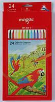 Мелки для рисования цветные, восковые MINGDA 24цв. MD-302C
