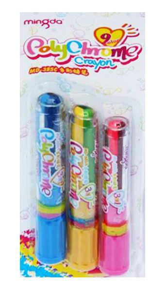 Мел цветной для рисования, восковый MINGDA набор 3 карандаша по 3цв., Rolling MD-385C