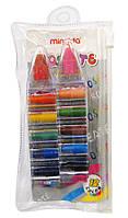 Мелки для рисования цветные, восковые MINGDA 12цв. в 2 карандашах MD-2912A